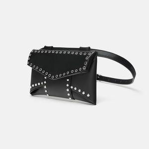Black Studded Belt Bag